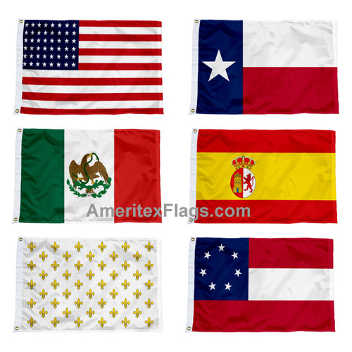 Six Historical Flags Over Texas