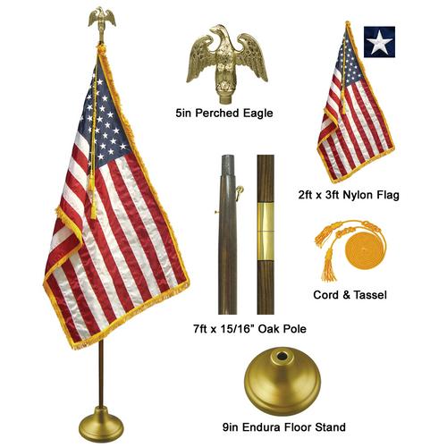 7' Deluxe American Flag Indoor Set