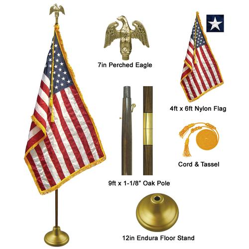9' American Indoor Flag Set
