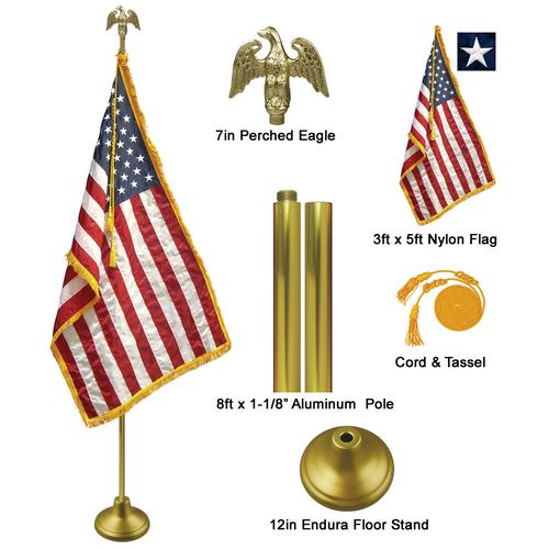 "8' x 1-1/8"" Gold Aluminum Pole Deluxe U.S. Indoor Flag Set"