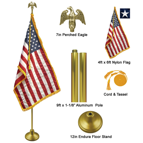 9' Gold Aluminum Pole Indoor Flag Set