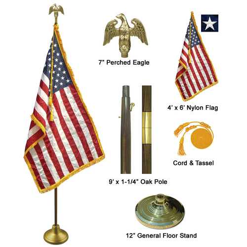 9' Oak Wooden Pole Indoor Flag Set