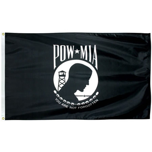 Single Faced Poly-Max POW-MIA Flags
