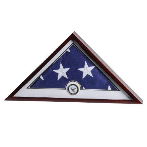 US Flag Display Case with Navy Medallion and Flag