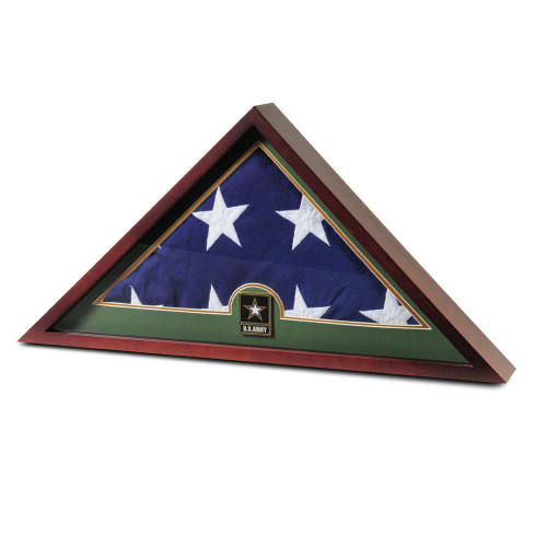 US Flag Display Case with Go Army Medallion and Flag