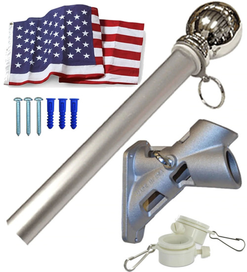 "6' x 1-1/4"" House Mounted Flagpole with Flag"