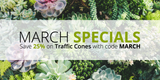 March Specials: Save 25% on Ready to Ship Traffic Cones