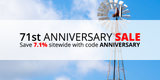 Anniversary Sale: Save 7.1% with code ANNIVERSARY through August 30th, 2020
