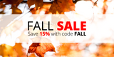Fall Sale: Save 15% with code FALL