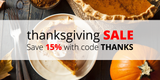 Thanksgiving Sale: Save 15% with code THANKS
