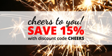 Cheers to YOU! Save 15% through December 31st, 2017 with code CHEERS