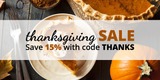 Thanksgiving Sale: Save 15% Sitewide