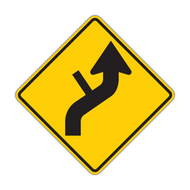 W1-10d Combination Horizontal Alignment (Reverse Curve) / Side Road