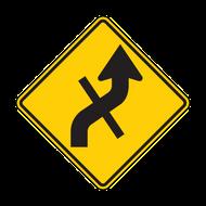 W1-10e Combination Horizontal Alignment (Reverse Curve) / Cross Road
