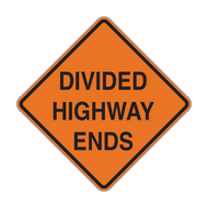 W6-2a Divided Highway Ends