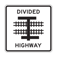 R15-7a Light Rail Divided Highway Symbol (T Intersection)