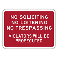 NSL No Soliciting No Loitering No Trespassing