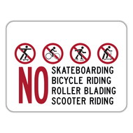 NSBS No Skateboarding Bicycle Riding Roller Blading Scooter Riding
