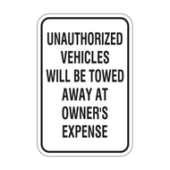 UVT Unauthorized Vehicles Will Be Towed Away at Owner's Expense