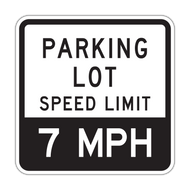 PLSL Parking Lot Speed Limit XX MPH