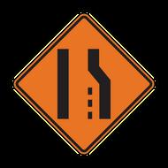 W4-2 Lane Ends (Construction)