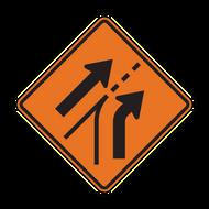W4-6 Entering Roadway Added Lane (Construction)