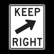 R4-7b Keep Right (oblique arrow)