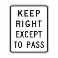 R4-16 Keep Right Except to Pass