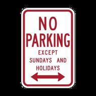 R7-3 No Parking Except Sundays and Holidays
