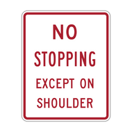 R8-6 No Stopping Except on Shoulder