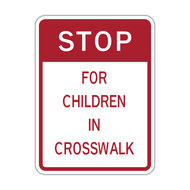 HW9-15 Stop for Children In Crosswalk