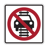 R15-6 No Motor Vehicles on Tracks