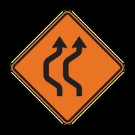 W24-1a Double Reverse Curve (2 lanes)