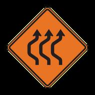 W24-1b Double Reverse Curve (3 lanes)