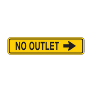 W14-2a No Outlet (with arrow)