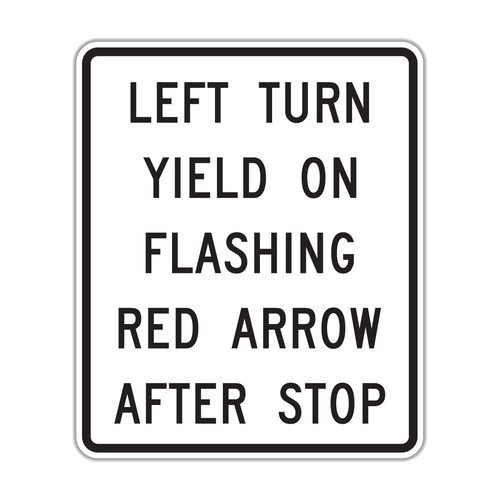 R10-27 Left Turn Yield on Flashing Red