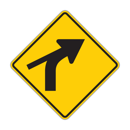 W1-10c Combination Horizontal Alignment (Curve) / Skewed Side Road
