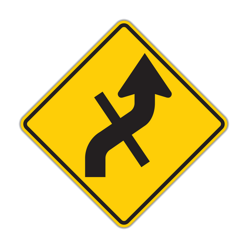 W1-10e Combination Horizontal Alignment (Reverse Curve) / Cross Road