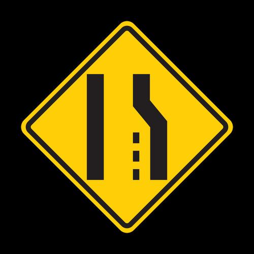 W4-2 Lane Ends