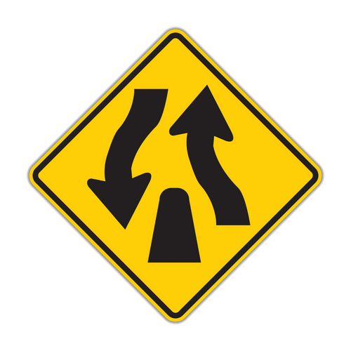 W6-2 Divided Highway Ends