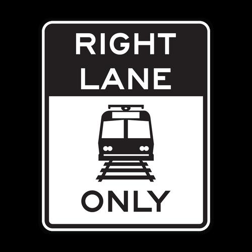 R15-4a Light Rail Only Right Lane