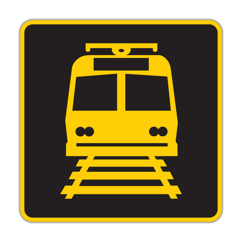 W10-7 Light Rail Activated Blank-Out Symbol