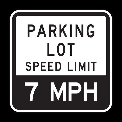 PLSL Parking Lot Speed Limit XX MPH