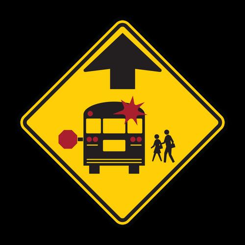 """12"""" S3-1 School Bus Stop Ahead"""
