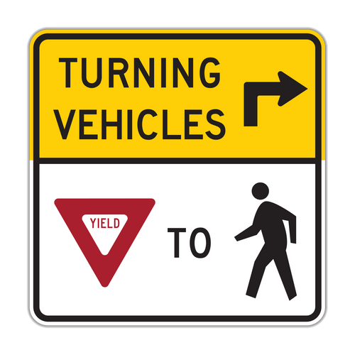 R10-15 Turning Vehicle Yield to Pedestrians