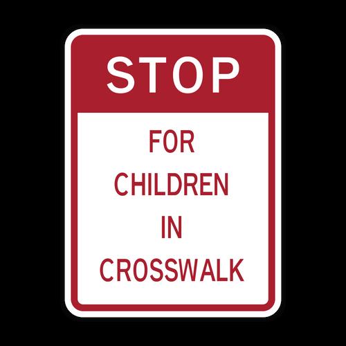 HW9-15 Stop for Children In Crosswalk