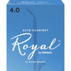 Rico Royal Alto Clarinet Reeds, Strength 4.0, 10-pack