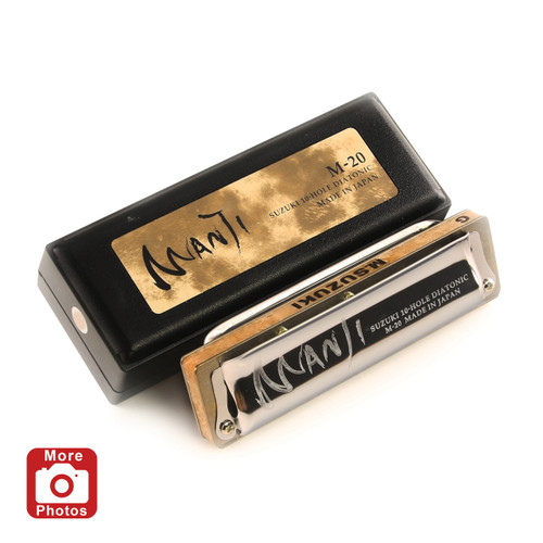 Suzuki Manji M-20 Professional Diatonic 10-Hole Blues Harmonica, Key of B