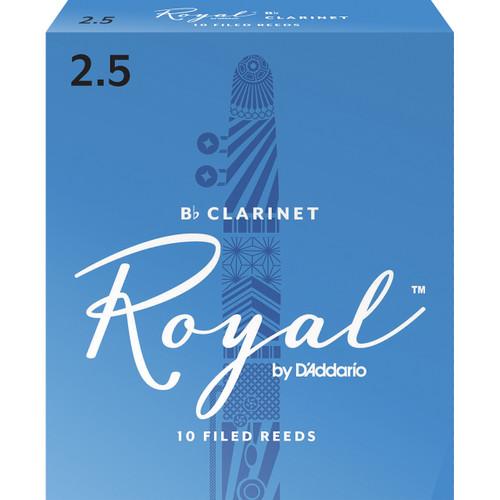 Rico Royal Bb Clarinet Reeds, Strength 2.5, 10-pack