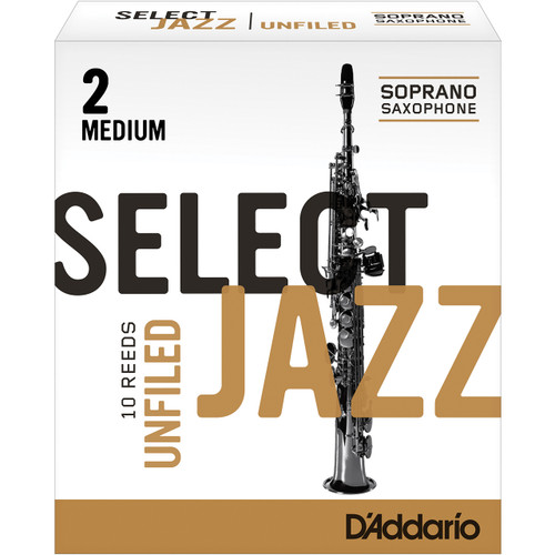 Rico Select Jazz Soprano Sax Reeds, Unfiled, Strength 2 Strength Medium, 10-pack